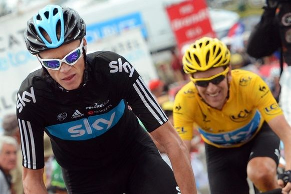 Chris Froome (links) en Bradley Wiggins in de Tour de France van 2012.