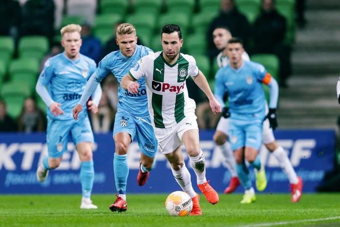 Thomas Bruns in het shirt van FC Groningen. De Tukker werd afgelopen seizoen al verhuurd door Vitesse.
