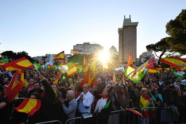 Aanhangers van Vox vrijdag in Madrid. Beeld AFP