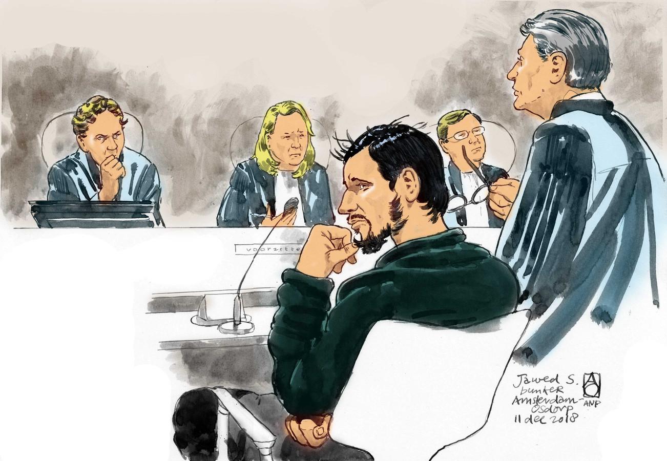 Rechtbanktekening van verdachte Jawed S.