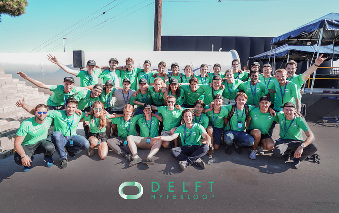 Het Delftse hyperloopteam vorig jaar in Californië