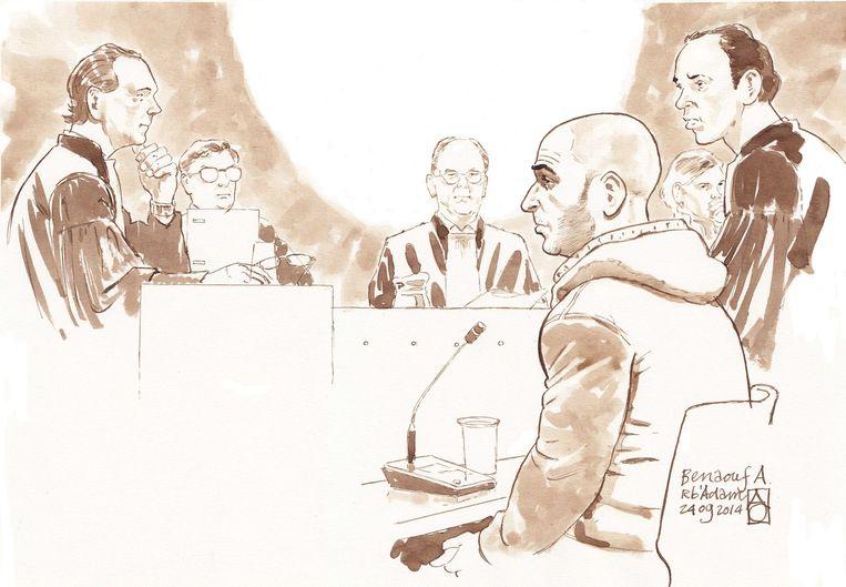 Benaouf A. tijdens zijn rechtszaak in 2014.