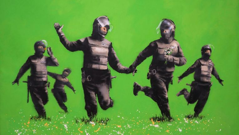 Beanfield is een van de werken die geëxposeerd zal gaan worden en meet in werkelijkheid tweeënhalf bij drie meter Beeld Banksy