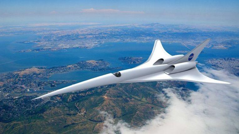 Een impressie van het supersonische passagiersvliegtuig dat milieuvriendelijker en stiller moet worden dan zijn voorganger, de Concorde.