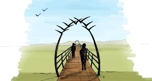 De entree van de loopbrug krijgt een smeedijzeren poort met vogels in vogelvlucht.