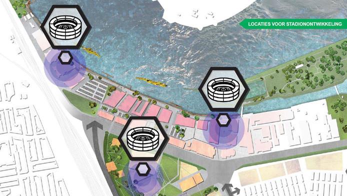 De drie plekken waar het stadion van Feyenoord is ingetekend. Het roze gedeelte is de woonwijk de Veranda.