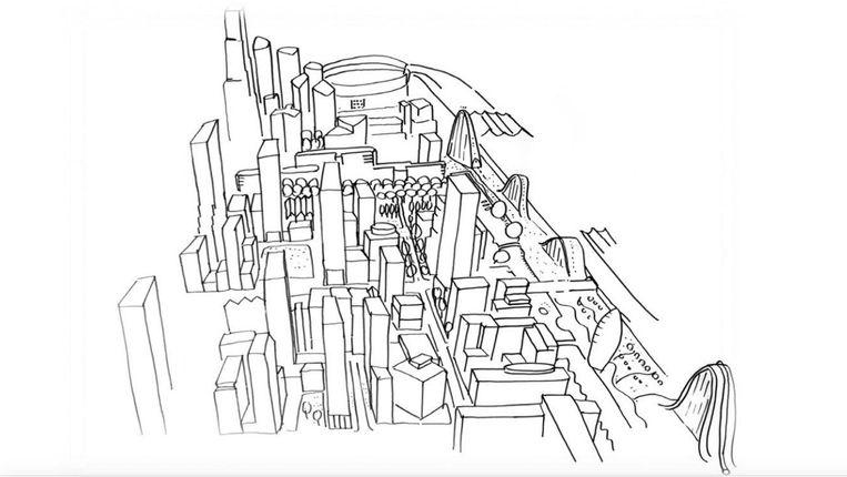De schets voor de toekomstige wijk, met verdichting en hoogbouw. In het noorden de Arena Beeld Gemeente Amsterdam
