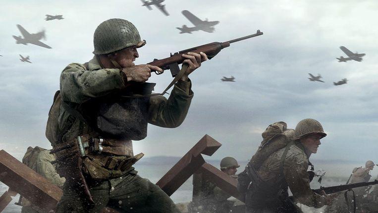 Beelden van explosies, rennende soldaten en een neerstortende bommenwerper vullen het tv-scherm bij de nieuwe Call of Duty. Beeld