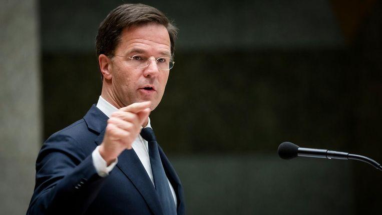 Premier Mark Rutte tijdens het Tweede Kamerdebat over de uitslag van het Oekraine-referendum. Beeld anp