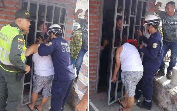 De hulpdiensten moesten de nieuwsgierige buurvrouw uit haar hachelijke positie bevrijden.