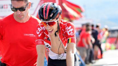 Bjorg Lambrecht zwaait de Vuelta uit waarna ploegmaats Van der Sande en De Gendt voor de komische noot zorgen