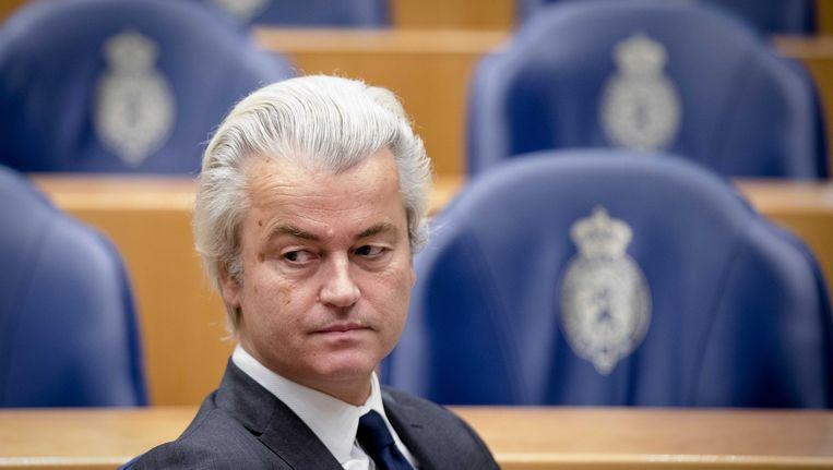 PVV-fractievoorzitter Geert Wilders tijdens het wekelijkse vragenuurtje in de Tweede Kamer. Beeld anp