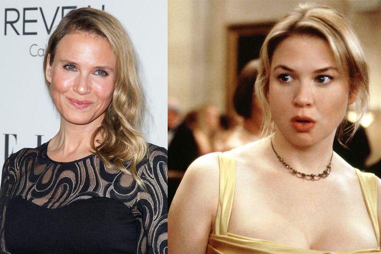 Vergelijk zelf: Renee Zellweger op de rode loper in Hollywood en in 2001 als Bridget Jones.