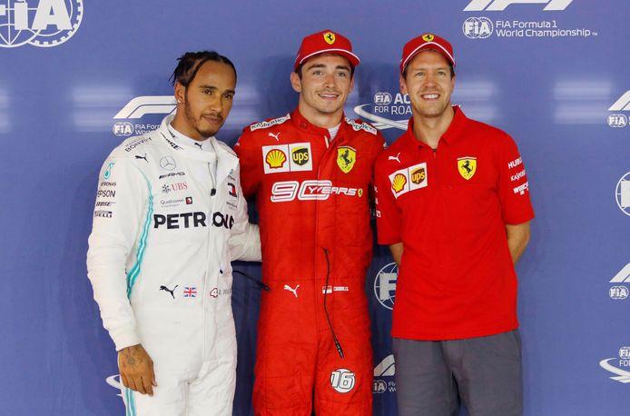 De eerst drie morgen: Charles Leclerc (midden), Lewis Hamilton (links) en Sebastian Vettel (rechts).