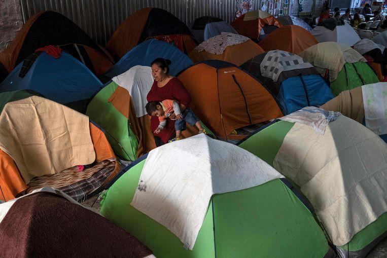 Een tentenkamp voor asielzoekers in Tijuana, Mexico.