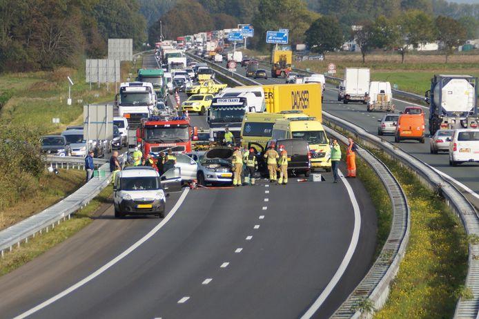 Ongeluk op A59 bij Waspik.