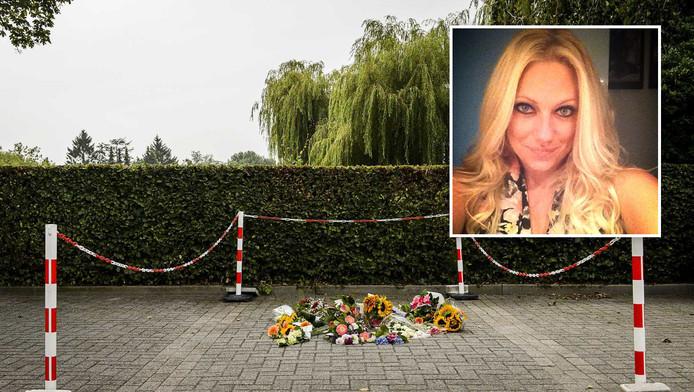 Bloemen op de plek waar Linda van der Giesen (28) maandag werd neergeschoten
