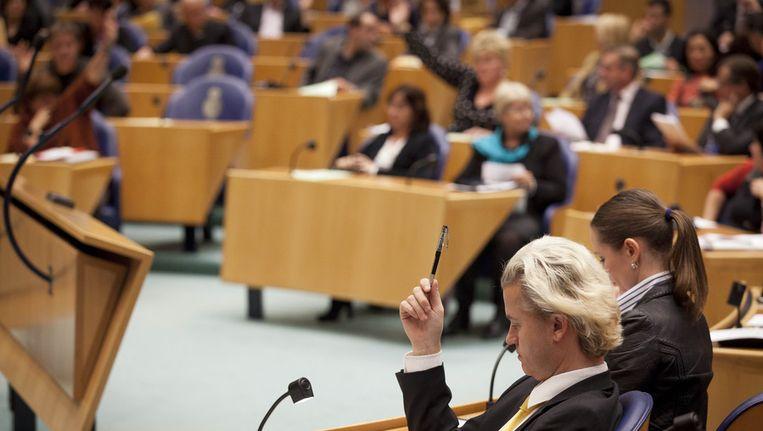 Een eerdere stemming in de Tweede Kamer dit jaar. Op de voorgrond PVV-leider Geert Wilders. © ANP Beeld