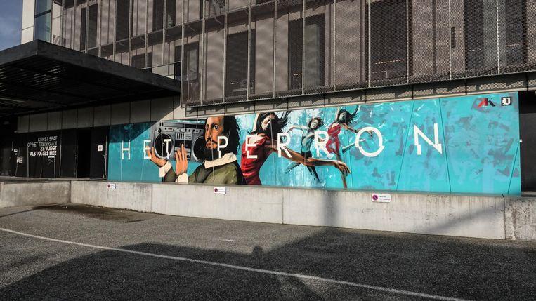 Het werk aan de achterzijde van CC Het Perron werd gemaakt door Timothy Vanlerberghe en Simon Delahaye.
