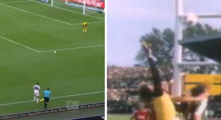 Links: Sosa gooit het leer naar Zieler die niet staat op te letten en later de bal in eigen doel verwerkt. Rechts: Jean-Marie Pfaff verkijkt zich op een inworp van Uwe Reinders en devieert het leer ook in zijn eigen doel.