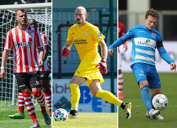 Vlnr: Lennart Thy (Sparta), Lars Unnerstall (PSV) en Rico Strieder (PEC Zwolle).