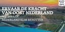 Screenshot van de website Nederland slim benutten, waar Oost-Nederland laat zien waarom een belangrijk deel van het Groeifonds in Gelderland en Overijssel moet landen.