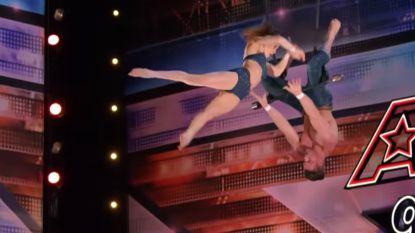 Hij is halfblind, maar toch zet trapeziumkoppel halsbrekende act neer in 'America's Got Talent'
