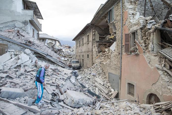 Het dorpje Amatrice werd zwaar getroffen.