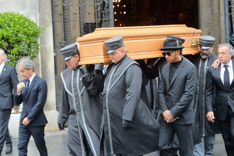 Lewis Hamilton op de begrafenis van Niki Lauda