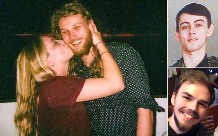 Lucas Fowler en zijn Amerikaanse vriendin Chynna Deese op een archieffoto. Rechts Bryer Schmegelsky (boven) en Kam McLeod (onder), die nu van de moord op het koppel verdacht worden.