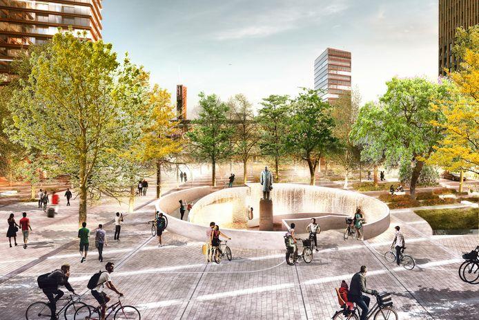 Het plein voor het station in Eindhoven in de plannen voor District E. Hier komt de ingang voor de fietskelder met 4000 plaatsen.