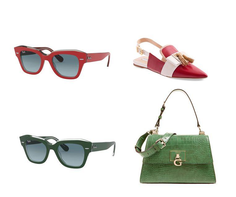 Boven: rosso zonnebril van Ray Ban € 155, rosso muiltjes van Fratelli Rossetti € 520. Onder: verde zonnebril van Ray Ban € 155 en verde fake croco tas van Guess € 149.  Beeld