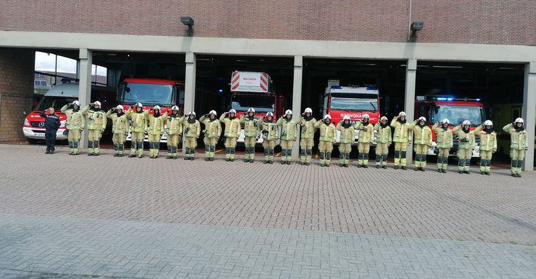 Het herdenkingsmoment in de brandweerkazerne in Herentals.