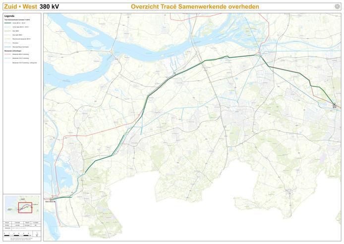 Overzichtskaart van het tracé 380kV van Rilland naar Tilburg.