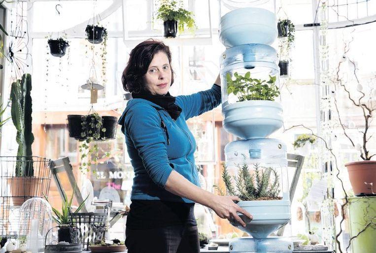 Mic Bijl heeft haar eigen raamtuin gemaakt voor kruiden, tomaten, sla en andere groenten. Beeld Inge van Mill