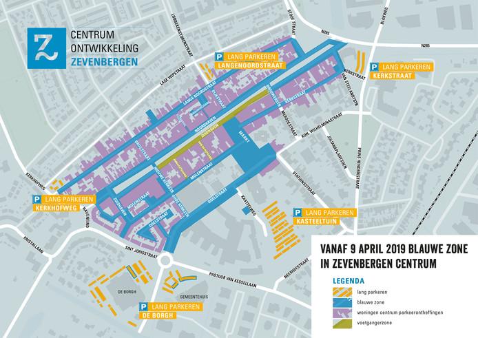 De nieuwe parkeersituatie in Zevenbergen sinds 9 april. In september komt er een lichte aanpassing.
