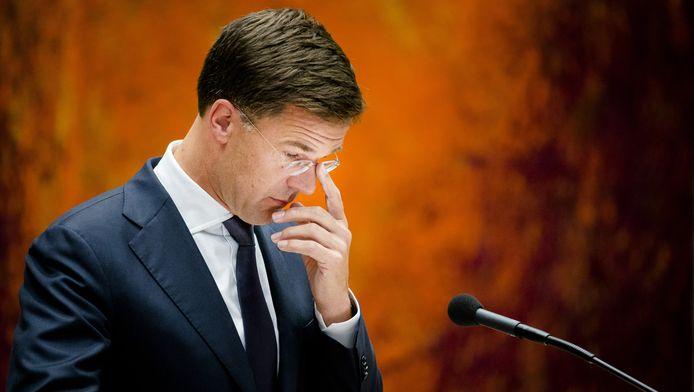 Mark Rutte tijdens het debat in de Tweede Kamer.