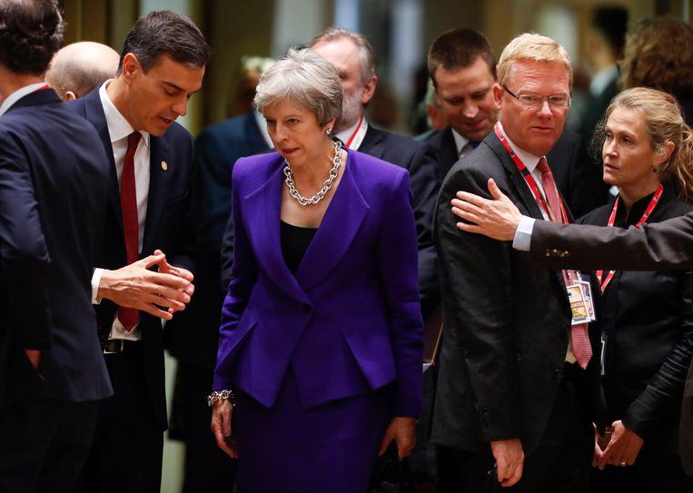 De Britse premier Theresa May arriveert op 18 oktober voor een rondetafeloverleg op de EU-top in Brussel.  Beeld AP