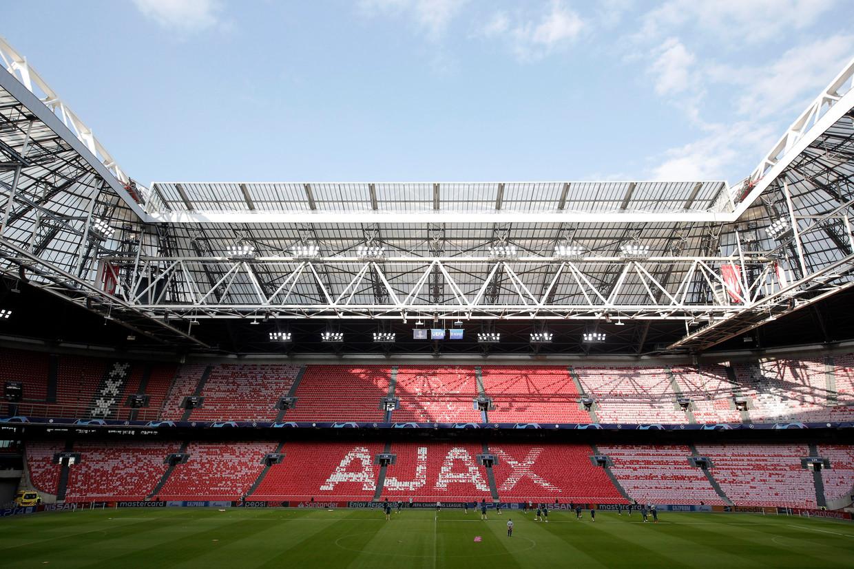 De spelers van Tottenham gisteren in de Arena tijdens de training voor het duel met Ajax.