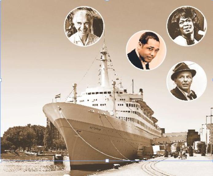 Het ss Rotterdam staat zaterdag in het teken van grote sterren van weleer, zoals Dave Brubeck, Duke Ellington, Sarah Vaughan en Frank Sinatra (v.l.n.r.)