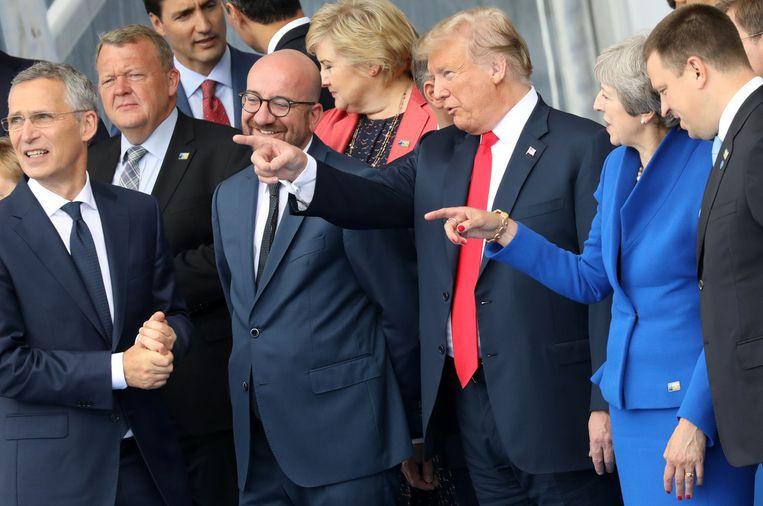 President Trump samen met andere Navo-leiders vlak voor de vergadering. Beeld AFP