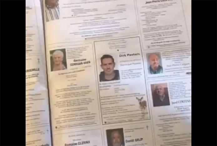 L'une des pages remplies de la trop longue nécrologie parue dans Het Belang van Limburg