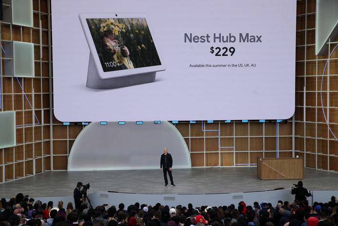 De presentatie van de Nest Hub Max, de grote versie van de Nest Hub. De Max komt niet in Nederland op de markt.