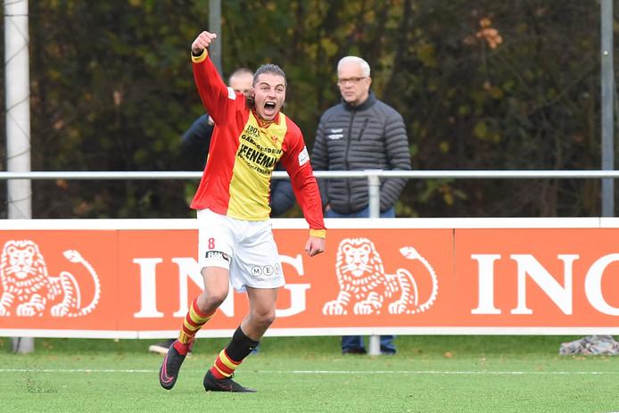Sander Krijns die net 1-0 scoorde