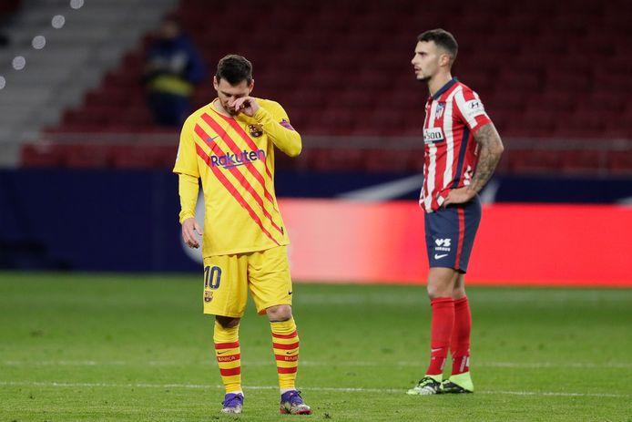 Lionel Messi tijdens de 1-0 verloren topper tegen Atletico Madrid van afgelopen zaterdag.