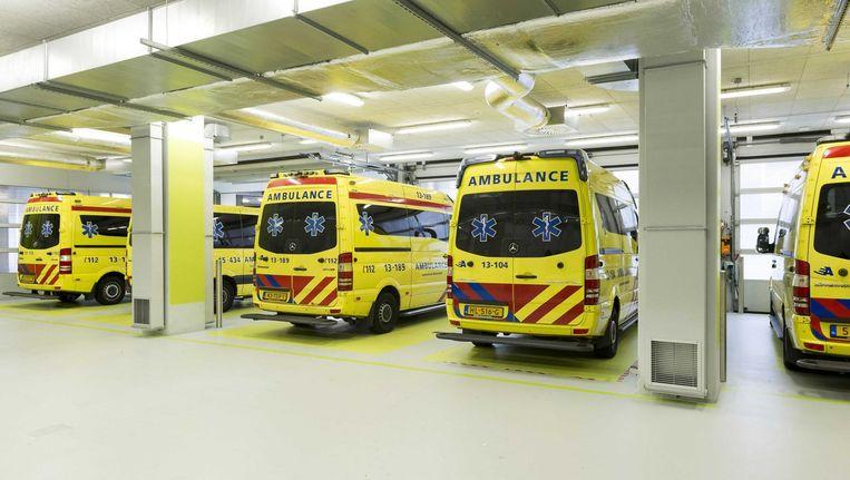 Ambulances op de Spoedeisende Hulp van het AMC. Beeld anp