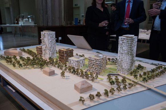 Het ontwerpvoorstel van de Rinkkaai: de twee grootste torens bestaan uit 100 woningen. De vier kleinere woonblokken huisvesten ook een buurtwinkel, basisschool, kinderopvang en school.