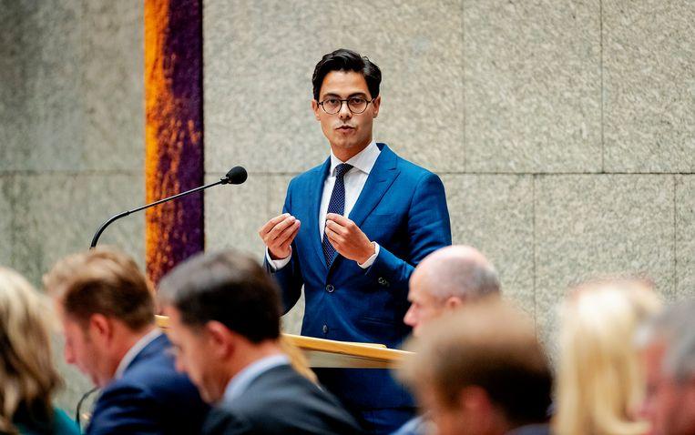 Rob Jetten (32). Een jaar geleden werd hij fractievoorzitter van D66, toen Alexander Pechtold vertrok. Beeld Robin van Lonkhuijsen/ANP