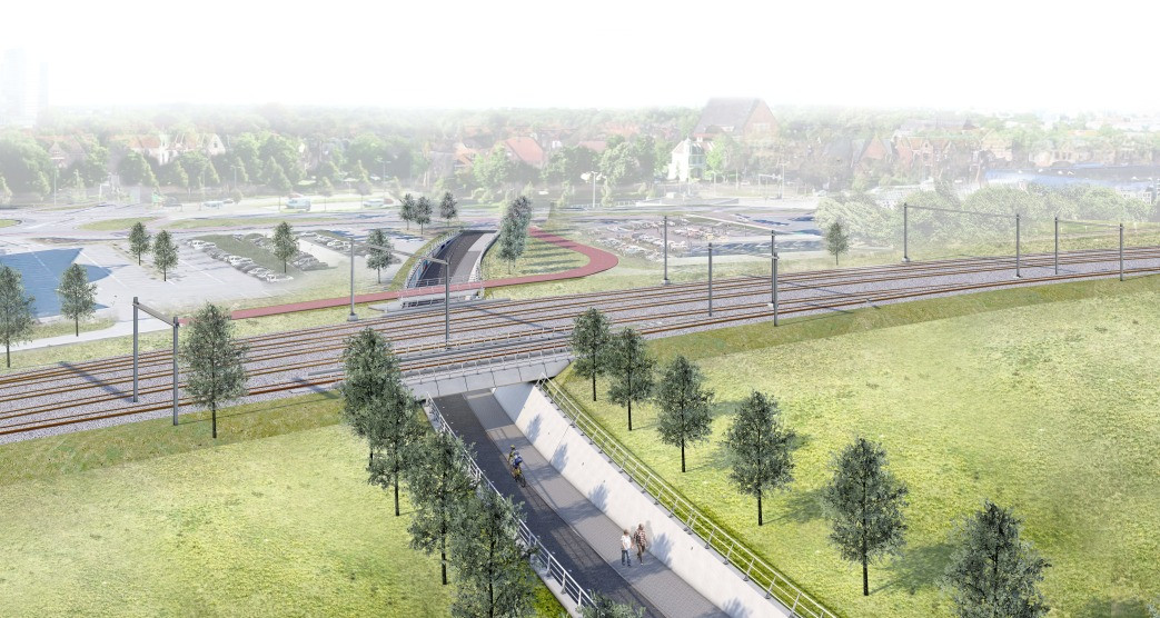 Een artist impression van de nieuwe situatie, in vogelperspectief. De Koggetunnel krijgt een extra viaduct voor een vierde spoor naar het rangeerterrein.