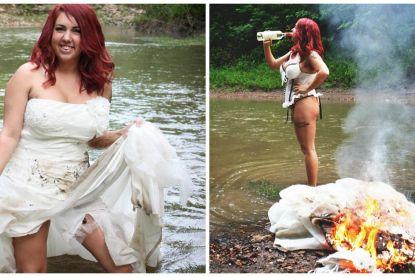 """Ontgoochelde bruid steekt haar trouwjurk in de fik: """"Nu voel ik me pas echt bevrijd"""""""